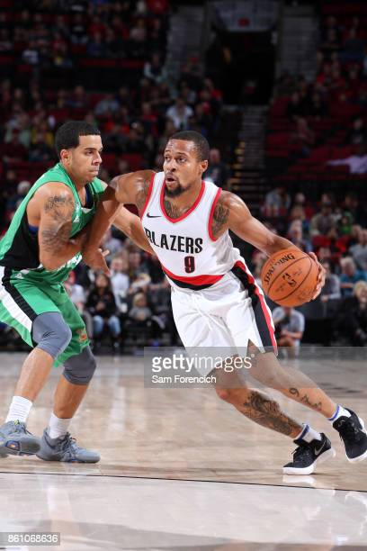 Isaiah Briscoe of the Portland Trail Blazers handles the ball during the preseason game against the Maccabi Haifa on October 13 2017 at the Moda...