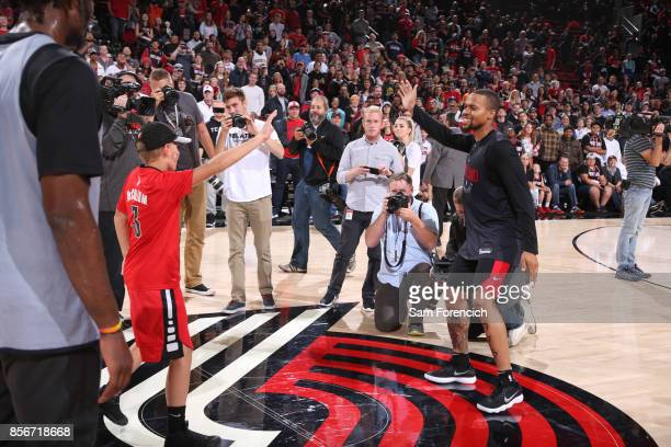 Isaiah Briscoe of the Portland Trail Blazers of the Portland Trail Blazers participates in the team's annual Fan Fest event October 1 2017 at the...