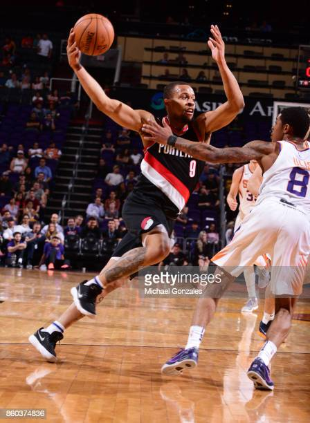 Isaiah Briscoe of the Portland Trail Blazers passes the ball against the Phoenix Suns during the preseason game on October 11 2017 at Talking Stick...