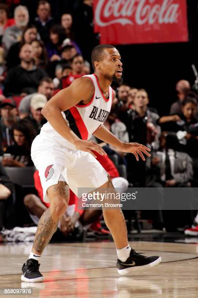 Isaiah Briscoe of the Portland Trail Blazers reacts during the preseason game against the Toronto Raptors on October 5 2017 at the Moda Center in...