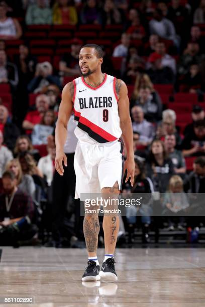 Isaiah Briscoe of the Portland Trail Blazers reacts during the preseason game against the Maccabi Haifa on October 13 2017 at the Moda Center in...