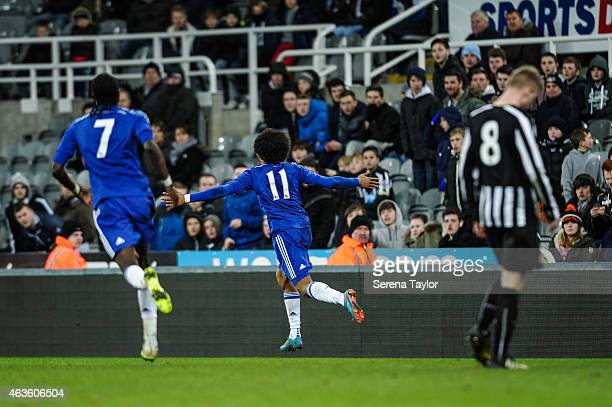 Isaiah Brown of Chelsea celebrates after scoring the first goal during the U21 FA Youth Cup Sixth Round match between Newcastle United and Chelsea at...