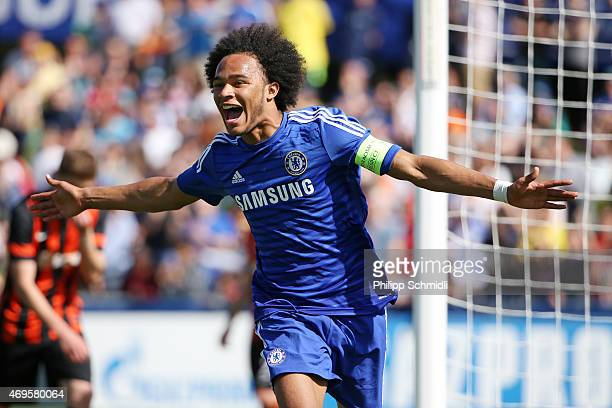 Isaiah Brown of Chelsea FC celebrates after scoring a goal during the UEFA Youth League Final match between Shakhtar Donetsk and Chelsea FC at...