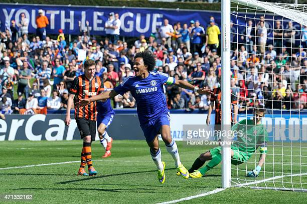 Isaiah Brown of Chelsea FC celebrates after scoring a goal during the UEFA Youth League final match between FC Shakhtar Donetsk and Chelsea FC at...