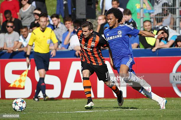Isaiah Brown of Chelsea FC fights for the ball with Vasyl Shtander of Shakhtar Donetsk during the UEFA Youth League Final match between Shakhtar...