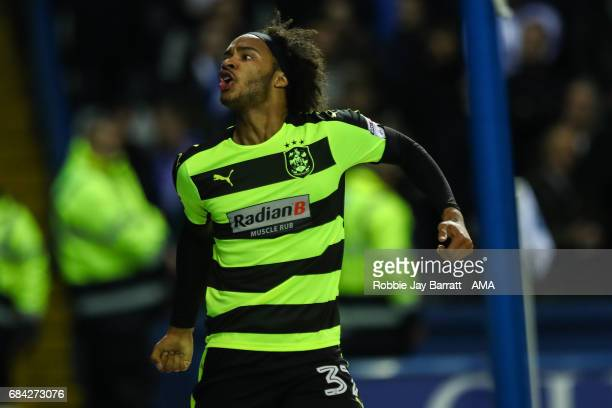 Isaiah Brown of Huddersfield Town celebrates a goal to make it 11 during the Sky Bet Championship match between Sheffield Wednesday and Huddersfield...