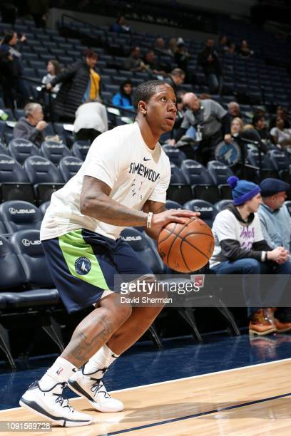 Isaiah Caanan of the Minnesota Timberwolves warms up prior to the game against the Memphis Grizzlies on January 30 2019 at Target Center in...
