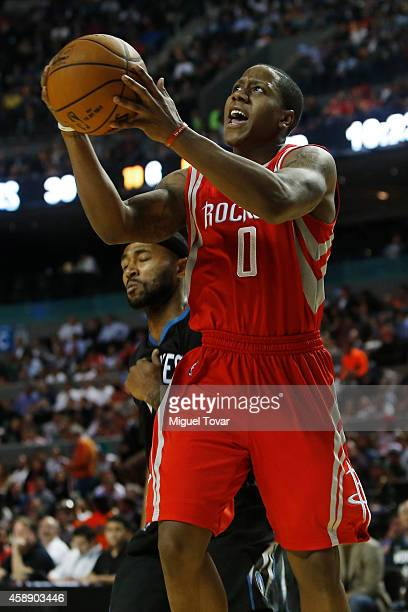 Isaiah Canaan of Houston Rockets goes to the basket during a match between Minnesota Timberwolves and Houston Rockets as part of 201415 NBA Season at...