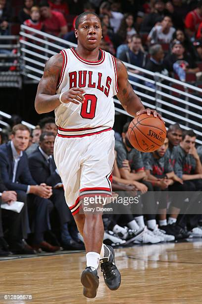 Isaiah Canaan of the Chicago Bulls dribbles the ball against the Milwaukee Bucks during a preseason game on October 3 2016 at United Center in...
