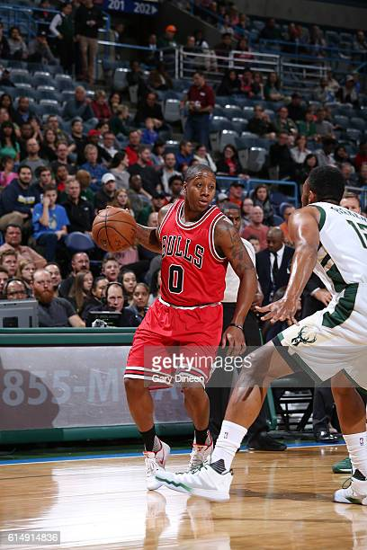 Isaiah Canaan of the Chicago Bulls drives to the basket against the Milwaukee Bucks on October 15 2016 at the BMO Harris Bradley Center in Milwaukee...