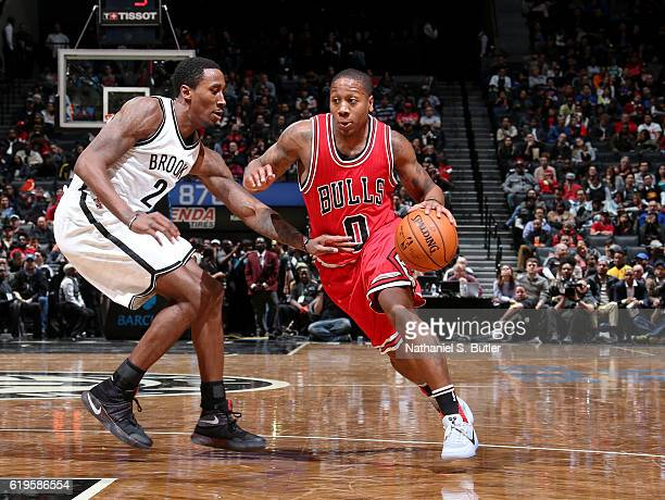 Isaiah Canaan of the Chicago Bulls drives to the basket against the Brooklyn Nets on October 31 2016 at Barclays Center in Brooklyn New York NOTE TO...
