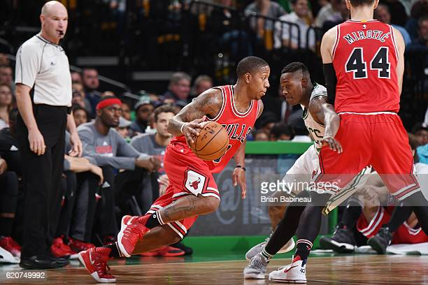 Isaiah Canaan of the Chicago Bulls drives to the basket against the Boston Celtics on November 2 2016 at the TD Garden in Boston Massachusetts NOTE...