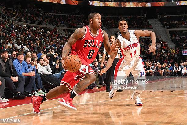 Isaiah Canaan of the Chicago Bulls drives to the basket against the Detroit Pistons on December 6 2016 at The Palace of Auburn Hills in Auburn Hills...