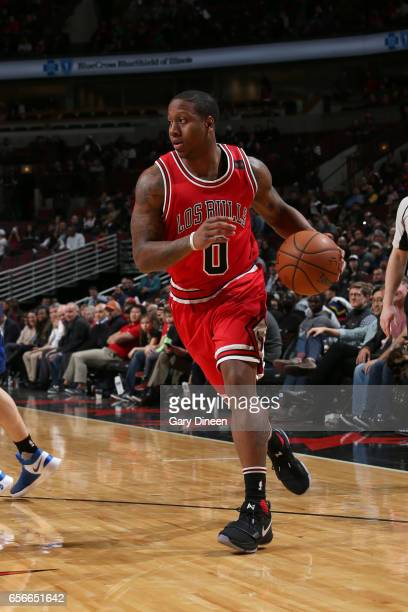 Isaiah Canaan of the Chicago Bulls drives to the basket against the Detroit Pistons on March 22 2017 at the United Center in Chicago Illinois NOTE TO...