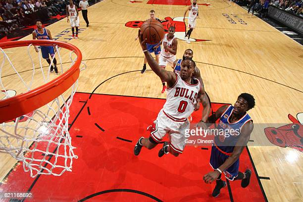 Isaiah Canaan of the Chicago Bulls goes up for a lay up during a game against the New York Knicks on November 4 2016 at the United Center in Chicago...