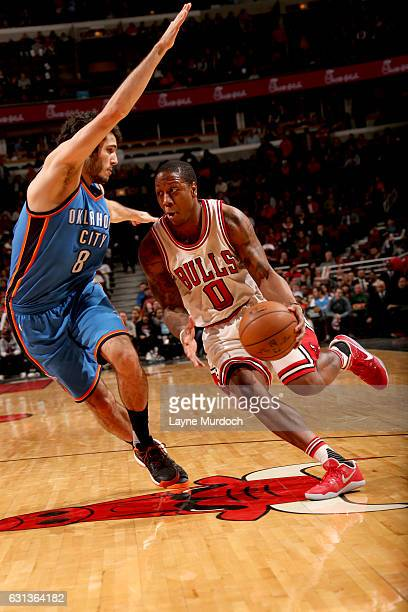Isaiah Canaan of the Chicago Bulls handles the ball against the Oklahoma City Thunder on January 9 2017 at the United Center in Chicago Illinois NOTE...