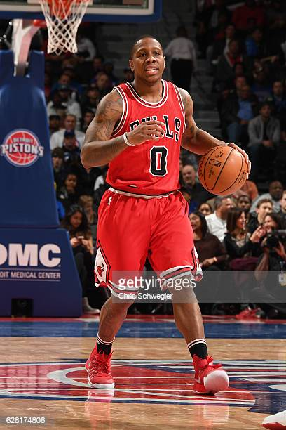 Isaiah Canaan of the Chicago Bulls handles the ball against the Detroit Pistons on December 6 2016 at The Palace of Auburn Hills in Auburn Hills...