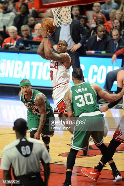 Isaiah Canaan of the Chicago Bulls shoots the ball against the Boston Celtics in Game Six of the Eastern Conference Quarterfinals of the 2017 NBA...