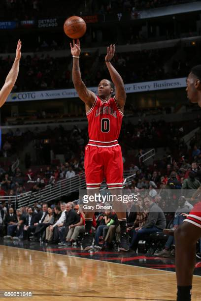 Isaiah Canaan of the Chicago Bulls shoots the ball against the Detroit Pistons on March 22 2017 at the United Center in Chicago Illinois NOTE TO USER...