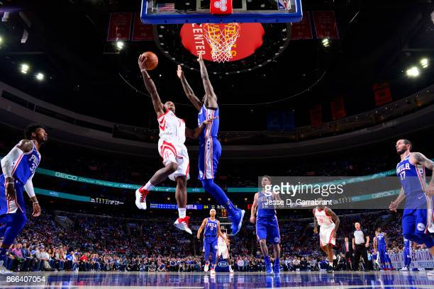 Isaiah Canaan of the Houston Rockets goes to the basket against the Philadelphia 76ers October 25 2017 at Wells Fargo Center in Philadelphia...