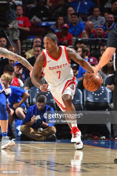 Isaiah Canaan of the Houston Rockets handles the ball against the Philadelphia 76ers October 25 2017 at Wells Fargo Center in Philadelphia...