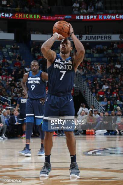 Isaiah Canaan of the Minnesota Timberwolves shoots a freethrow during a game against the New Orleans Pelicans on February 8 2019 at the Smoothie King...