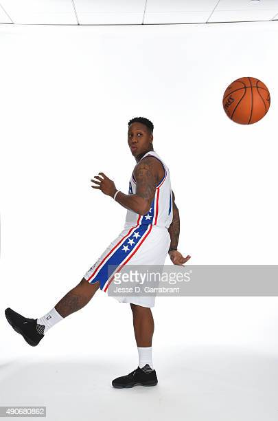 Isaiah Canaan of the Philadelphia 76ers poses for a photo during media day on September 28 2015 in Galloway New Jersey NOTE TO USER User expressly...