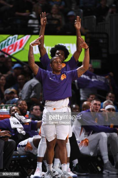Isaiah Canaan of the Phoenix Suns and Josh Jackson of the Phoenix Suns react during the game against the Denver Nuggets on January 19 2018 at the...