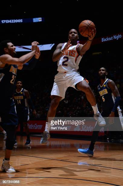 Isaiah Canaan of the Phoenix Suns goes for a lay up against the Denver Nuggets on January 19 2018 at the Pepsi Center in Denver Colorado NOTE TO USER...