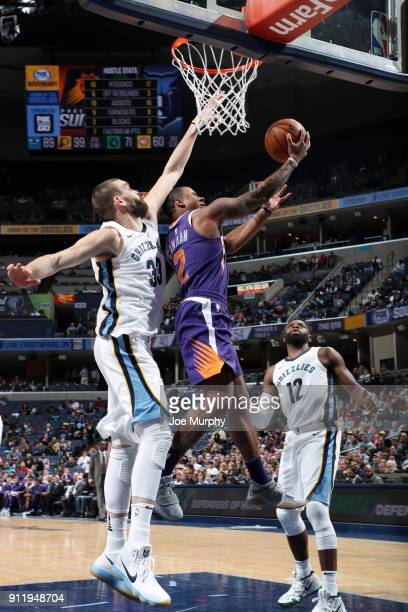 Isaiah Canaan of the Phoenix Suns goes to the basket against the Memphis Grizzlies on January 29 2018 at FedExForum in Memphis Tennessee NOTE TO USER...