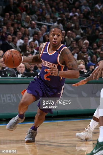 Isaiah Canaan of the Phoenix Suns handles the ball against the Milwaukee Bucks on January 22 2018 at the BMO Harris Bradley Center in Milwaukee...