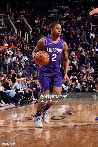 Isaiah Canaan of the Phoenix Suns handles the ball against the New York Knicks on January 26 2018 at Talking Stick Resort Arena in Phoenix Arizona...