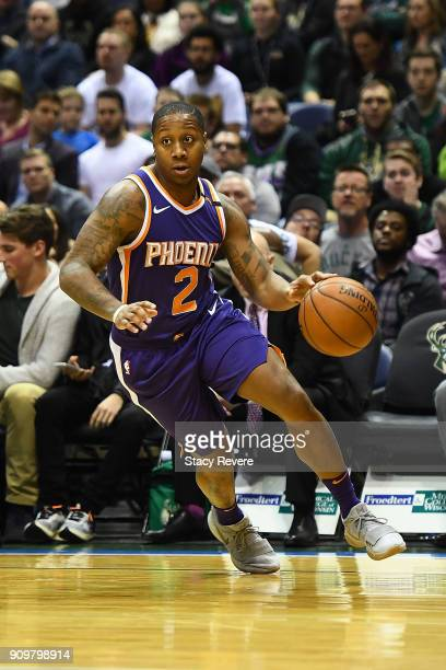 Isaiah Canaan of the Phoenix Suns handles the ball during a game against the Milwaukee Bucks at the Bradley Center on January 22 2018 in Milwaukee...