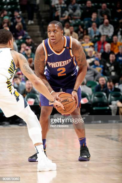 Isaiah Canaan of the Phoenix Suns handles the ball during the game against the Indiana Pacers on January 24 2018 at Bankers Life Fieldhouse in...
