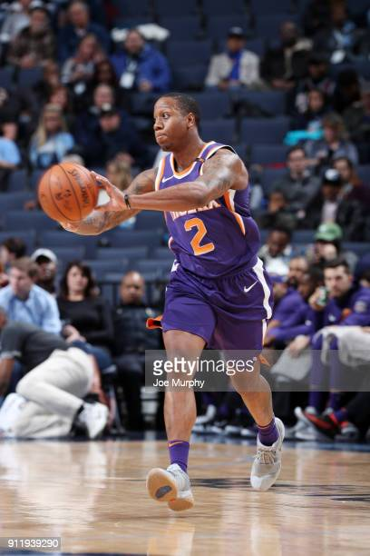 Isaiah Canaan of the Phoenix Suns passes the ball against the Memphis Grizzlies on January 29 2018 at FedExForum in Memphis Tennessee NOTE TO USER...