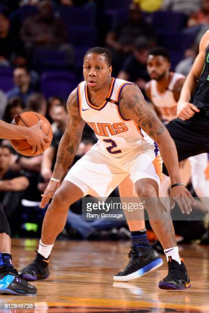 Isaiah Canaan of the Phoenix Suns plays defense against the Dallas Mavericks on January 31 2018 at Talking Stick Resort Arena in Phoenix Arizona NOTE...