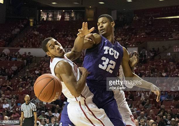 Isaiah Cousins of the Oklahoma Sooners knocks the ball away from Karviar Shepherd of the TCU Horned Frogs during the first half of a NCAA college...