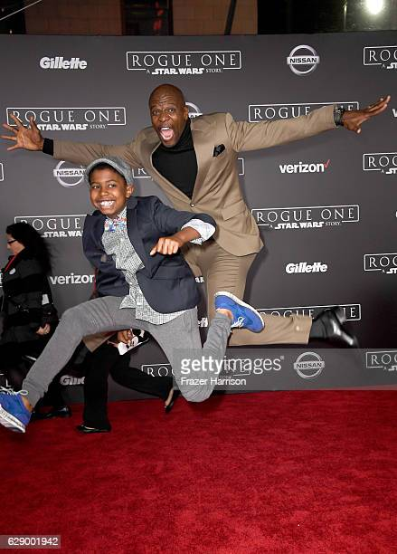 Isaiah Crews and actor Terry Crews attend the premiere of Walt Disney Pictures and Lucasfilm's Rogue One A Star Wars Story at the Pantages Theatre on...