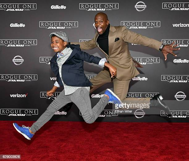 Isaiah Crews and his father actor Terry Crews attend the premiere of Walt Disney Pictures and Lucasfilm's Rogue One A Star Wars Story at the Pantages...