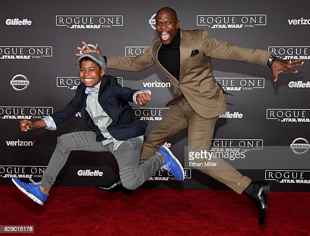 Isaiah Crews and his father actor Terry Crews attend the premiere of Walt Disney Pictures and Lucasfilm's 'Rogue One A Star Wars Story' at the...