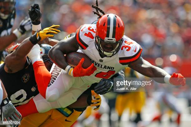 Isaiah Crowell of the Cleveland Browns is tackled by Stephon Tuitt of the Pittsburgh Steelers at FirstEnergy Stadium on September 10 2017 in...