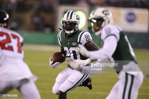 Isaiah Crowell of the New York Jets in action during the preseason National Football League game between the New York Jets and the Atlanta Falcons on...