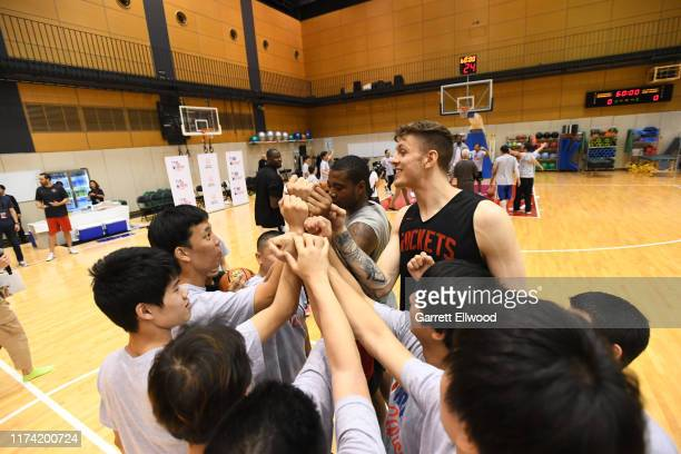 Isaiah Hartenstein and Gary Clark of the Houston Rockets during the NBA Cares Special Olympics Unified Clinic part of the 2019 NBA Japan Games at a...