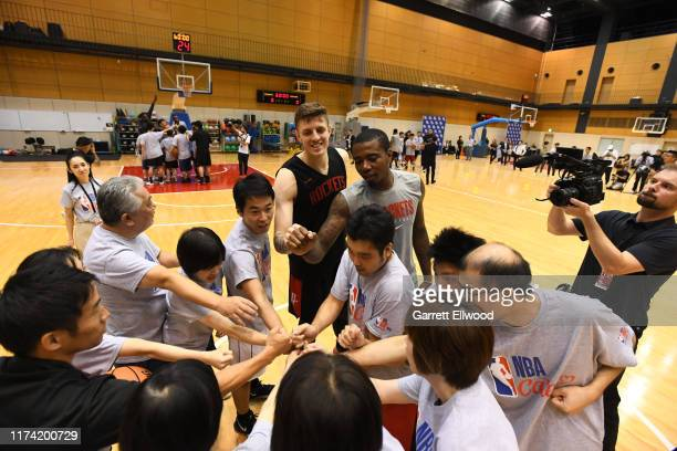 Isaiah Hartenstein and Gary Clark of the Houston Rockets participates during the NBA Cares Special Olympics Unified Clinic part of the 2019 NBA Japan...