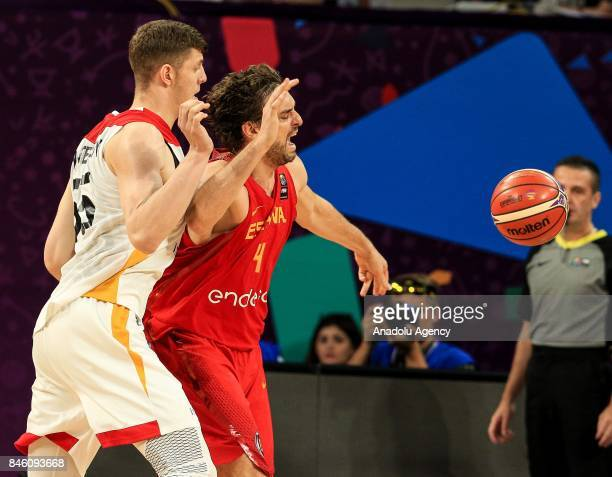 Isaiah Hartenstein of Germany in action against Pau Gasol of Spain during the FIBA Eurobasket 2017 quarter final basketball match between Germany and...