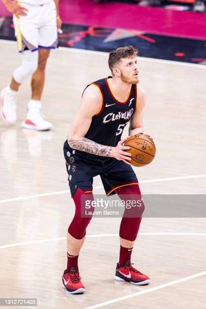 Isaiah Hartenstein of the Cleveland Cavaliers shoots a free throw during the first quarter against the Golden State Warriors at Rocket Mortgage...