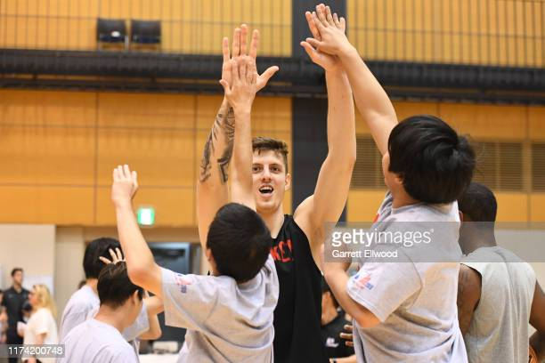 Isaiah Hartenstein of the Houston Rockets during the NBA Cares Special Olympics Unified Clinic part of the 2019 NBA Japan Games at a training...