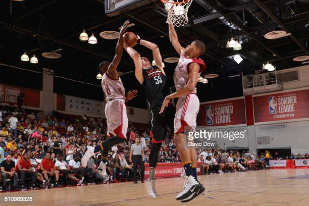 Isaiah Hartenstein of the Houston Rockets goes to the basket against the Cleveland Cavaliers during the 2017 Las Vegas Summer League on July 8 2017...