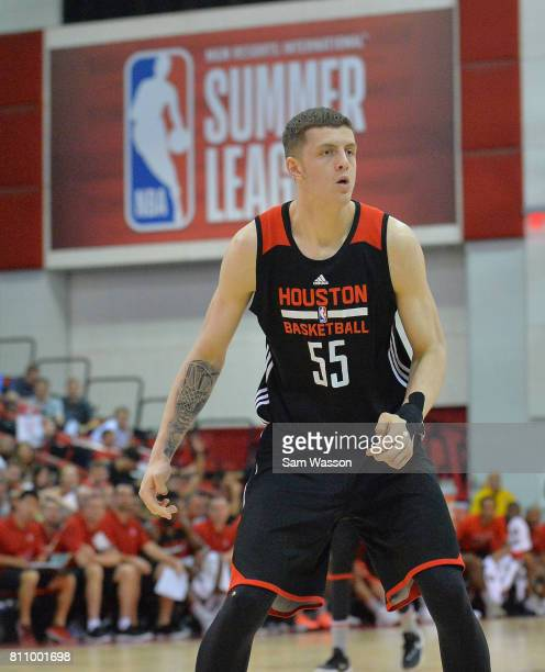 Isaiah Hartenstein of the Houston Rockets looks on during a game against the Cleveland Cavaliers during the 2017 Summer League at the Cox Pavilion on...