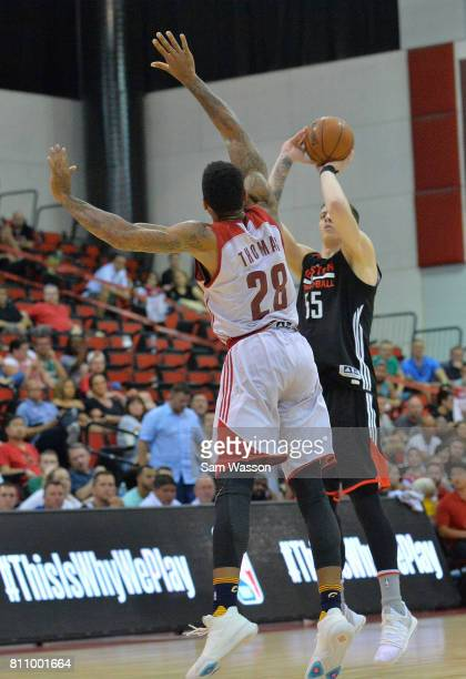 Isaiah Hartenstein of the Houston Rockets shoots against Malcolm Thomas of the Cleveland Cavaliers during the 2017 Summer League at the Cox Pavilion...